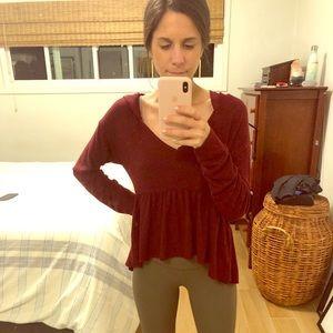 Dark red light sweater